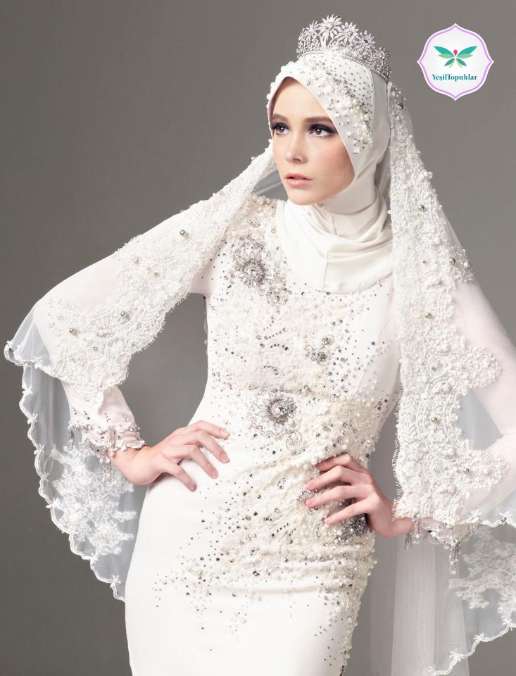 احدث فساتين زفاف تركية منقوشة 2015