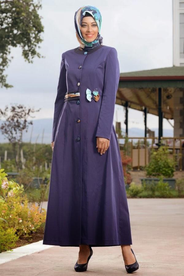 ملابس محجبات شتوية تركية موف 2016