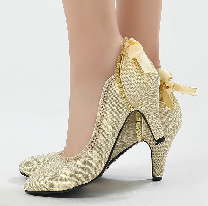 احذية ذهبية للزفاف 2015