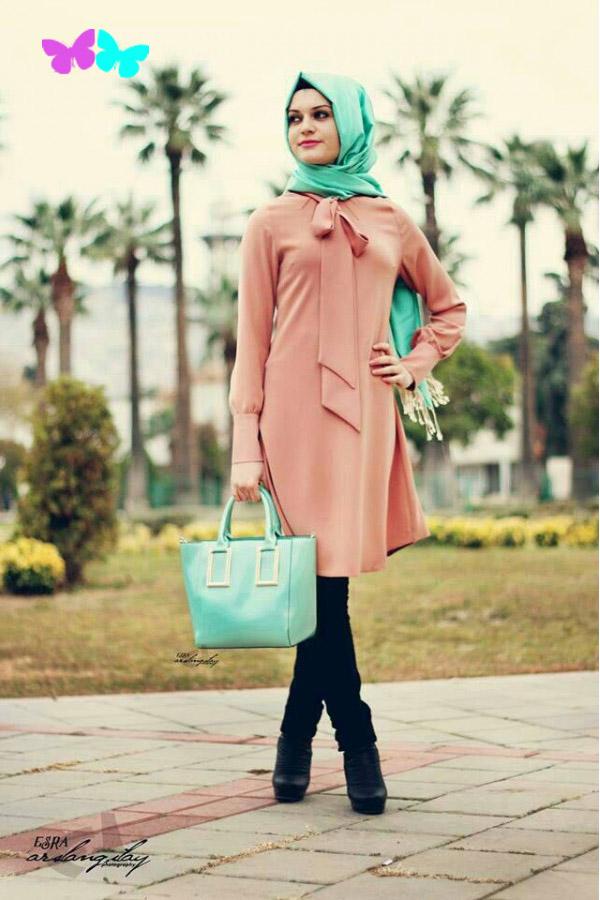 تونيكات طويلة من الشيفون للمحجبات باللون الاورنج موضة 2015