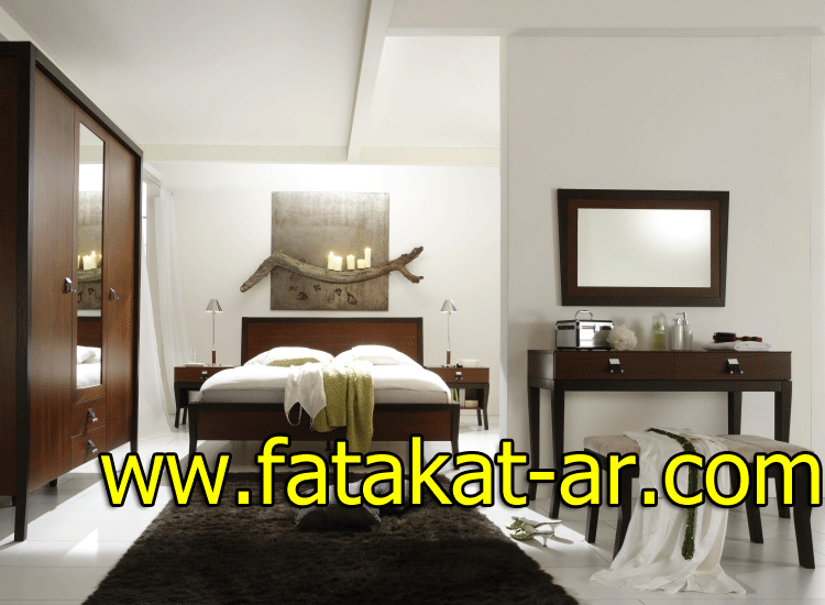 غرف نوم خشبية بنية