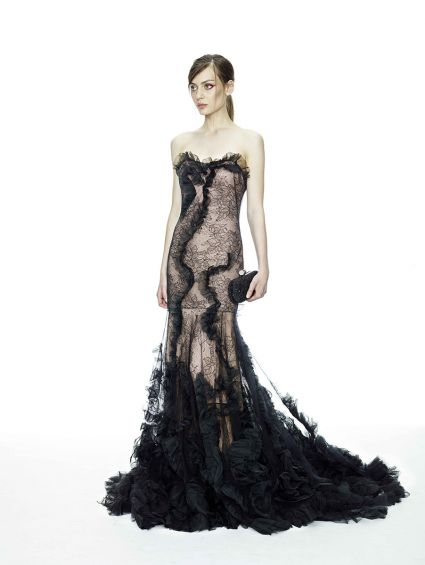 فساتين زفاف طويلة سوداء 2015 للحفلات
