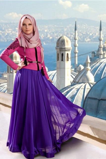تنانير وبلايز محجبات شيفون 2015