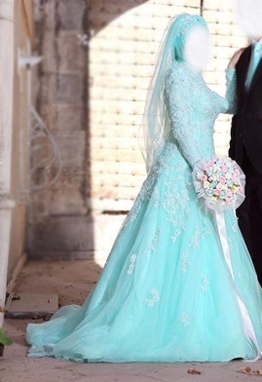 فساتين زفاف محجبات ملونة 2015