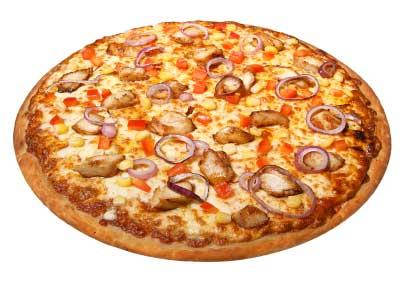 بيتزا بقطع الدجاج المتبلة