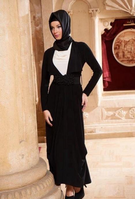 فساتين جميلة باللون الاسود للمحجبات 2015