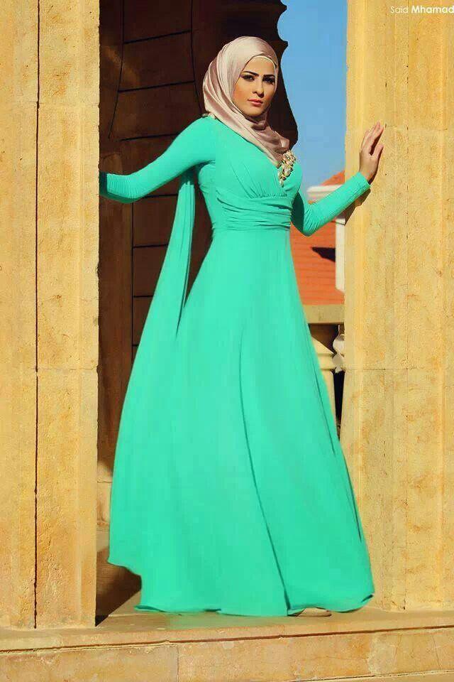 a21c4606899f1 موديلات عبايات فستان للمحجبات للسهرات 2015