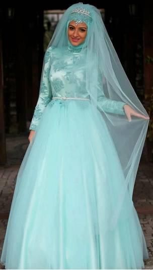 احدث فساتين زفاف محجبات ملونة 2015 لبنات مصر