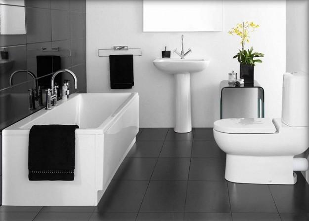 ديكورات حمامات بيضاء في اسود