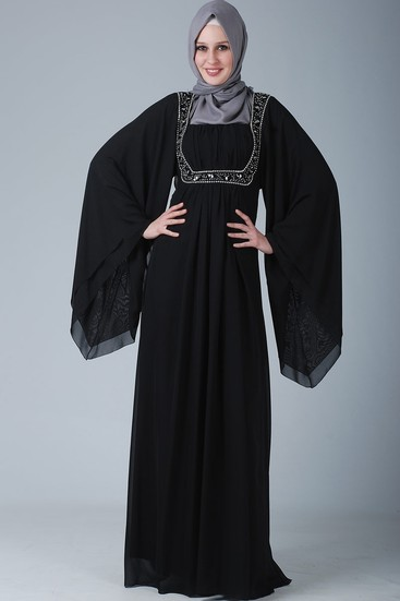 فساتين سواريه سوداء للمحجبات موضة 2015
